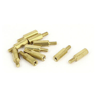 M4x12mm+6mm Male to Female Thread 0.5mm Pitch Brass Hex Standoff Spacer 10Pcs