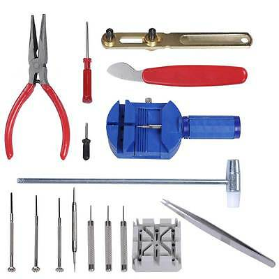 16pcs Watch Repair Tool Kit Band Pin Strap Link Remover Back Opener Remover