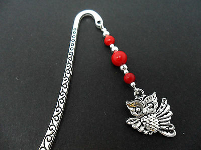 A Tibetan Silver  Owl Charm Red Coral Beads Bookmark. New.