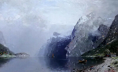Oil painting Georg Anton Rasmussen - norwegian fjord nice landscape & mountains