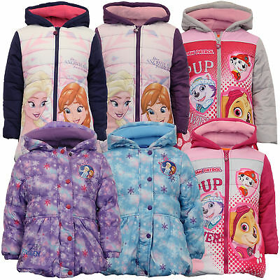 95511621d GIRLS DISNEY FROZEN Jacket Kids Coat ANNA ELSA Padded Hooded ...