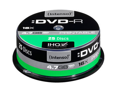 25 INTENSO DVD-R 4.7GB 16x Speed, Printable, in Spindel