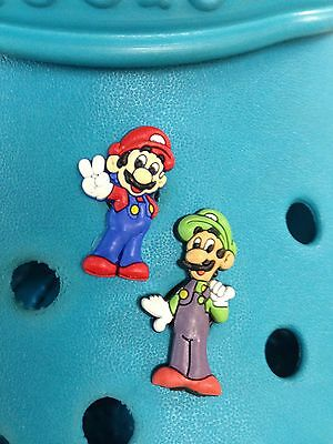 2 Mario & Luigi Shoe Charms For Crocs & Jibbitz Wristbands.