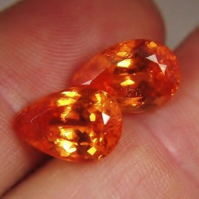Old Stock! True Namibian Mandarin Garnet Pair 13.47 ct tw GLI