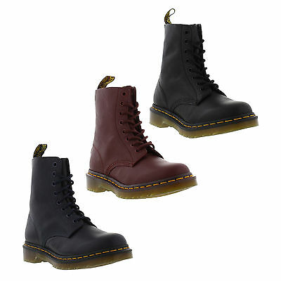 Dr Martens 1460 Pascal Womens Black Red Soft Leather Ankle Boots Size 4-8