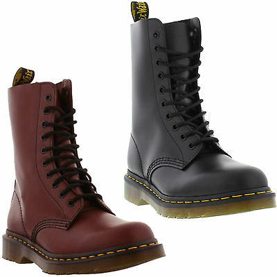 New Dr Martens 1490 Mens Womens Black Red Leather Ankle Boots Size 4-13