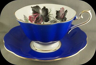 Royal Albert Cobalt Blue Black and Pink Masquerade Rose Floral Cup And Saucer