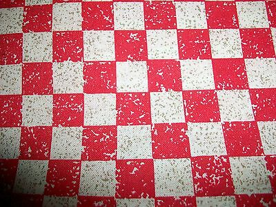Red & Sand Colored Checks Cotton Fabric