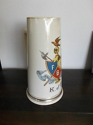 "Rare Antique German Knights of Pythias Ceramic Jug, Gold Accents, 10""H, Crack"