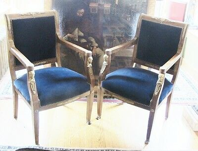 Rarest Pair of Napoleon I French Empire Gilt Bronze Mounted Arm Chairs  c. 1810