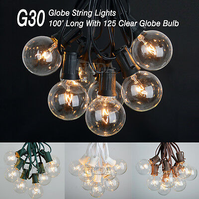 100 Ft G30 Outdoor Patio Globe String Lights 100 Sockets 125 Clear Edison Bulbs