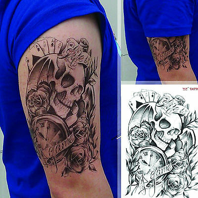 Black Large Sexy Temporary Tattoo Body Arm Skull Stickers Removable Waterproof