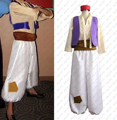Animation Aladdin Prince Cosplay Costume Men Clothes Hat Shirt Vest Pants Belt