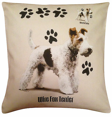 Wire Fox Terrier Paws Cotton Cushion Cover - Cream or White Cover - Gift Item
