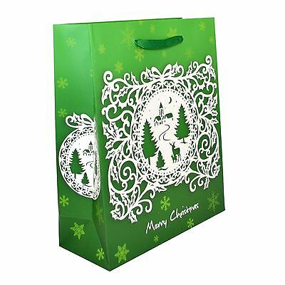 3pk Small Christmas Gift Bag Luxurious Decorative Strong Paper Bags Green 2406