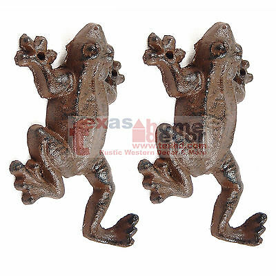 2 Frog Hooks Cast Iron Rustic Finish Coat Keys Towel Hanger Wall Mounted 6x3.5""