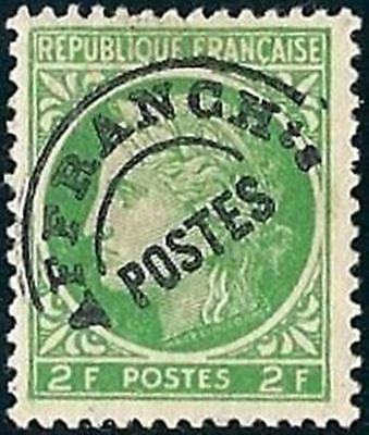 """FRANCE PREOBLITERE TIMBRE STAMP N° 92 """" TYPE CERES 2F VERT JAUNE """" NEUF x TB"""