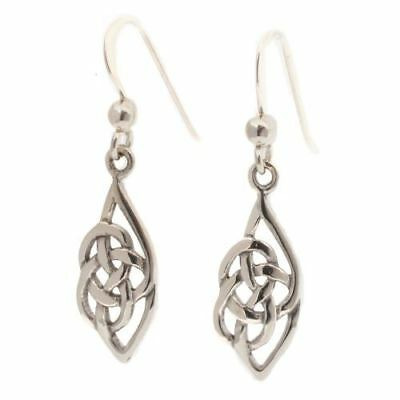 Sterling Silver Celtic Drop Earrings - Traditional Gaelic Irish Design Jewellery