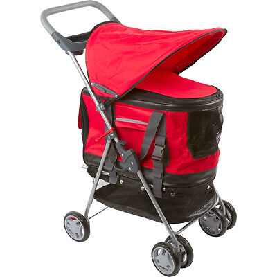 Red All-in-one Pet Stroller, Carrier & Car Seat