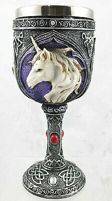 Purity Unicorn Wine Goblet Chalice Faux Stone Resin Body Stainless Steel Decor