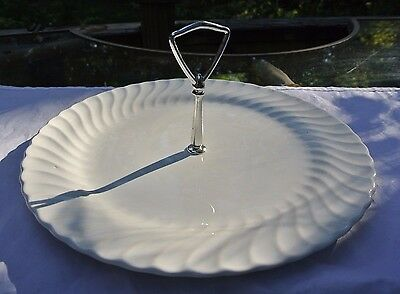 "Vintage SHEFFIELD BONE WHITE SWIRL Serving Tray with Center Handle 12-1/4""D"