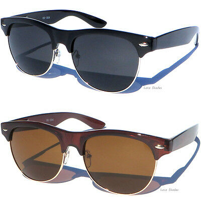 Half Frame Vintage Clubmaster Style Classic Sunglasses ...