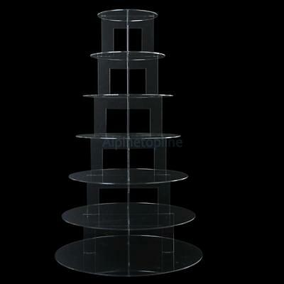 7 Tier Acrylic Round Cupcake Cup Cake Stand Wedding Party Display Baby Shower