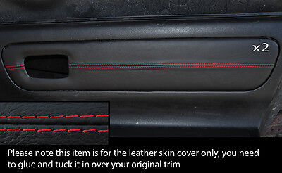 Red Stich 2X Door Card Trim Leather Skin Covers Fits Toyota Mr2 Mk3 2000-2007