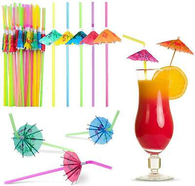 36 Cocktail Umbrella Straw Tropical Hawaiian Birthday Hen Party Accessories