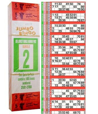1500 Books 5 Page (Games) 12 To View (Strips Of) Jumbo Bingo Tickets Sheet