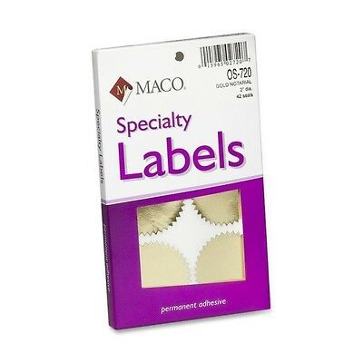 """Maco Os-720 Notarial Gold Seal - Round - 2"""" Diameter - Self-adhesive - For"""