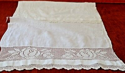 Charming Vintage Linen Damask And Crochet Towel Rr19
