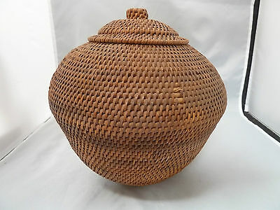 "Native American Weave Covered Bowl  Very Nice Design. Approx 8.5"" W X 9"" T"