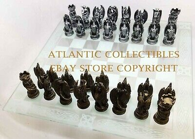 Dragon Lair Fantasy Collector Chess Resin Pieces and Glass Board Set Collectible
