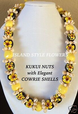 Hawaii Wedding Kukui Nut Lei w/ Cowrie Shell Graduation Luau Necklace-Yellow