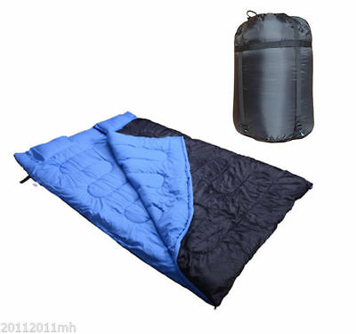 "Outsunny Double Sleeping Bag 23F/-5C 2 Person Camping Hiking 86""x60"" 2 Pillows"