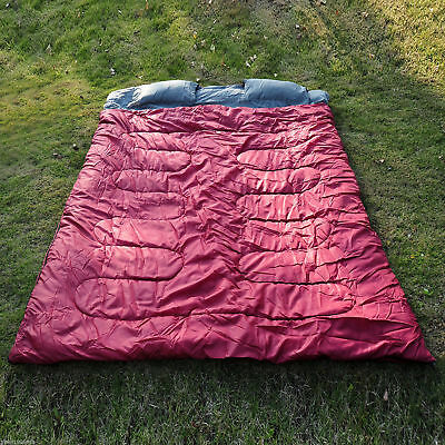 "Outsunny Huge Double Sleeping Bag 23F/-5C 2 Person Camping Trip 86""x60"" 2 Pillow"