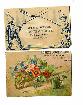 Victorian Trade Card pair BOOT & SHOES Syracuse NY WEST BROS ROSENBLOOM & SONS