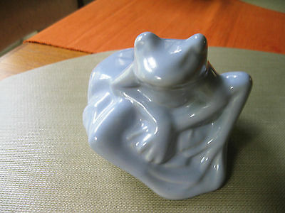 Htf 1939 Vintage Niloak Art Pottery Gloss Light Blue Frog Planter Arkansas Great