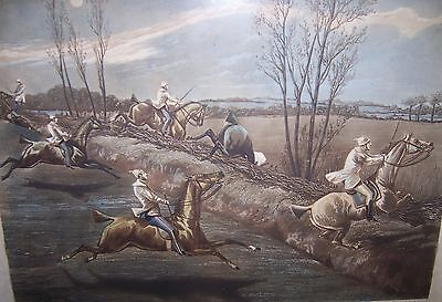 Large Pair Original 19C Framed Etchings English Hunt Horses First Steeple Chase
