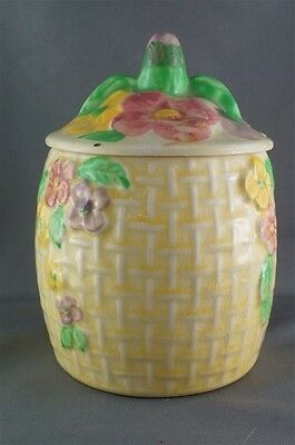 Vintage Wade Heath Jam Honey Jar Yellow Floral Lidded Basket Weave