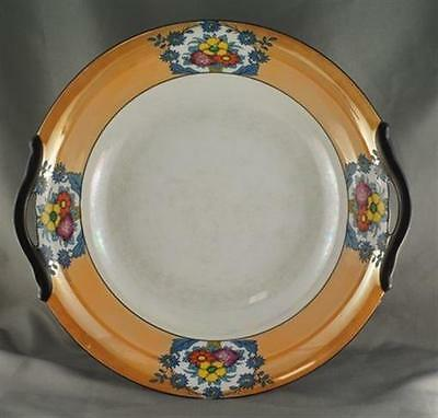 Noritake M Mark Orange Black Handled Pearlized Serving Bowl