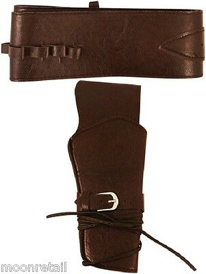 Western COWBOY LEATHER HOLSTER Fancy Dress Ranger Bandit Sheriff Wild West Clint