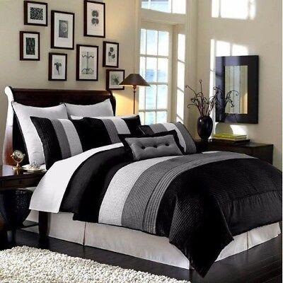 8-Piece Luxury Pintuck Pleated Stripe Black, Gray, and White Comforter Set King