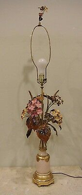 Vintage Tole Metal Italian Lamp w/ Painted  Flowers and Ceramic Base