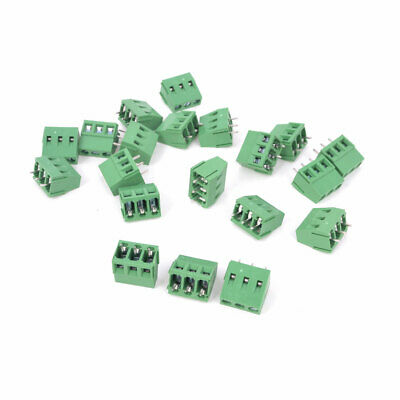 300V 10A 3P Way 5mm Pitch Male PCB Mount Screw Terminal Block Green 20 Pieces