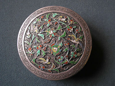 Antique Persian silver enamel box