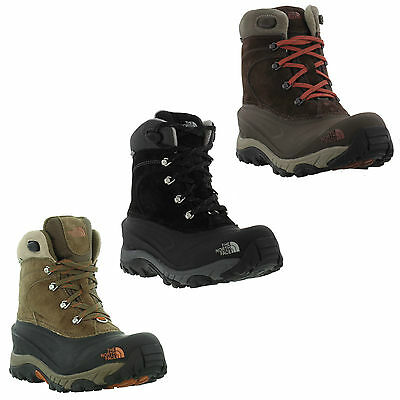 North Face Chilkat II Mens Black Brown Waterproof Walking Snow Boots Size 7-13