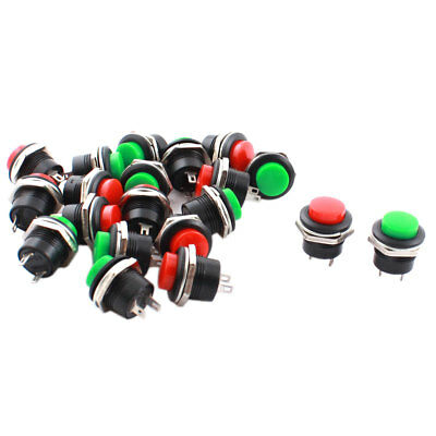 20pcs AC 250V 3A SPST 2 Positions Momentary Action Red Green Push Button Switch