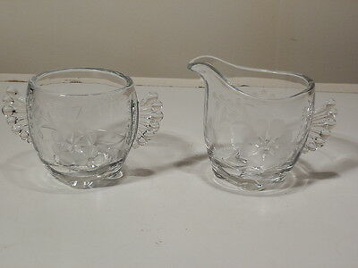 Vintage Paden City Creamer And Sugar Bowl With Floral Cutting Wing Handles Nice